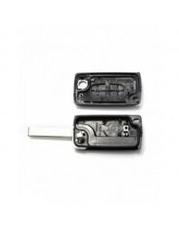 Peugeot 407 - Carcasa tip cheie briceag cu 2 butoane, lama HU83-SH2 cu suport baterie - Carguard - Peugeot