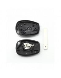 Dacia / Renault - Carcasa cheie cu 2 butoane si suport baterie din inox - - Carcase de chei
