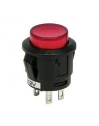 Intrerupator auto Carpoint 12V 20A rotund diametru 16,10mm , buton cu revenire , rosu - Carpoint Olanda - Intrerupatoare