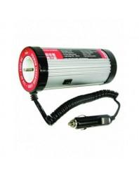 Invertor de tensiune auto Carpoint 12V-230V 150W 50-60Hz model rotund cu protectie supra-sarcina baterie descarcata supravolt...