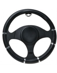 Husa volan Chrome Ring Black, material cauciucat, diametru 37-39cm - - Home