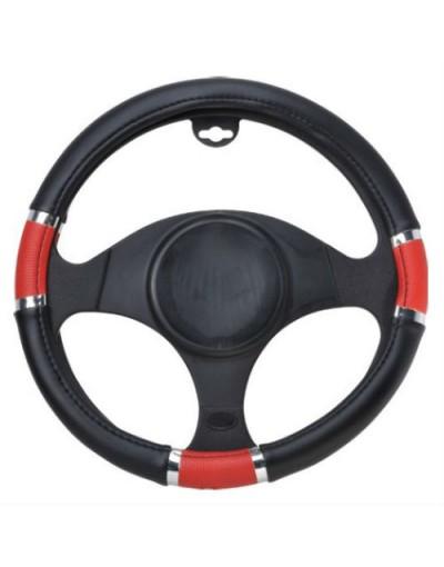 Husa volan Chrome Ring Red, material cauciucat, diametru 37-39cm - - Home
